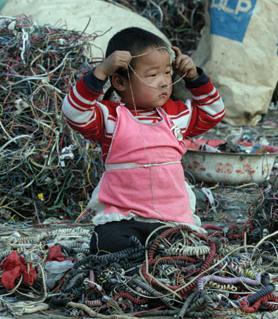These two photos were taken at a dump site in China